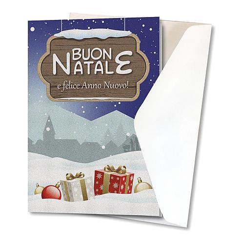 Biglietto Auguri Natalizio carta perlata Paesaggio Natalizio 2