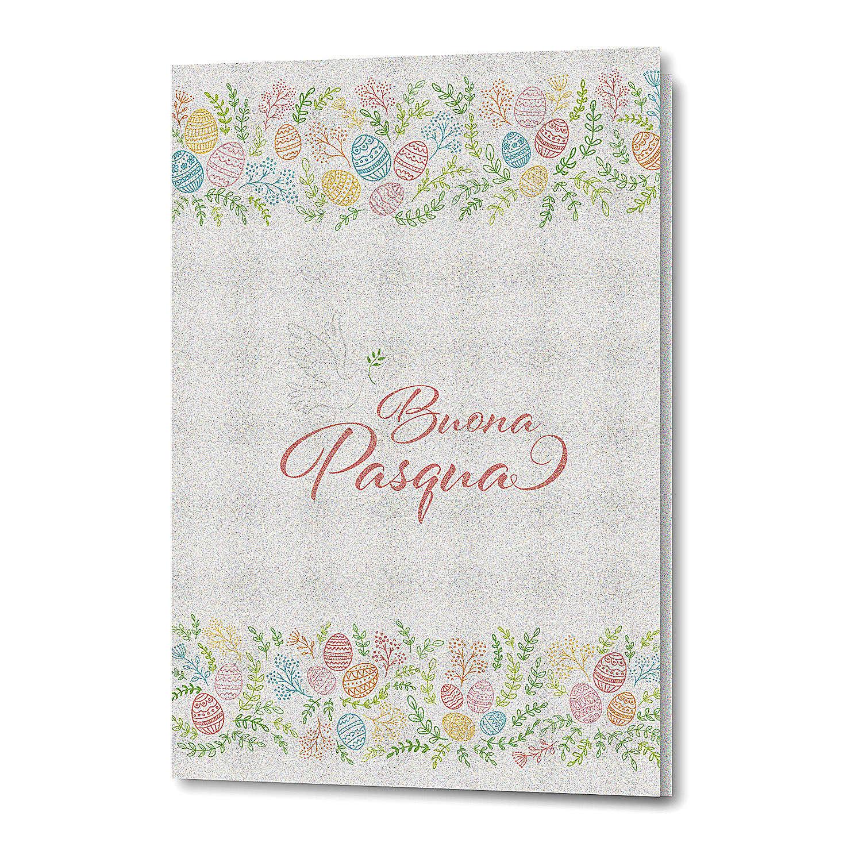 Tarjeta Felicitaciones Pascual de papel perlado Flores y Paloma 4