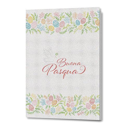 Tarjeta Felicitaciones Pascual de papel perlado Flores y Paloma 1