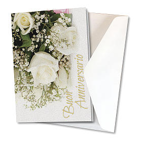 Greeting card in pearl paper Wedding Anniversary White Roses s2