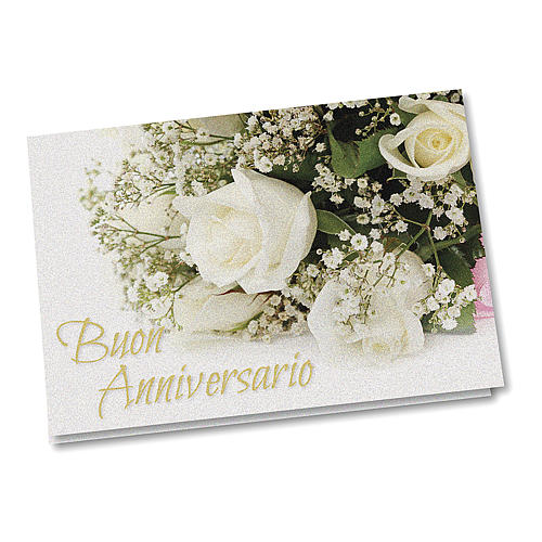 Greeting card in pearl paper Wedding Anniversary White Roses 1