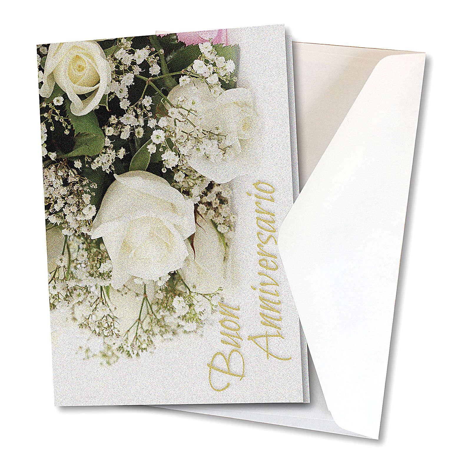 Biglietto Auguri carta perlata per Anniversario di Nozze Rose Bianche 4
