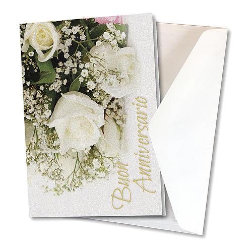Biglietto Auguri carta perlata per Anniversario di Nozze Rose Bianche 2