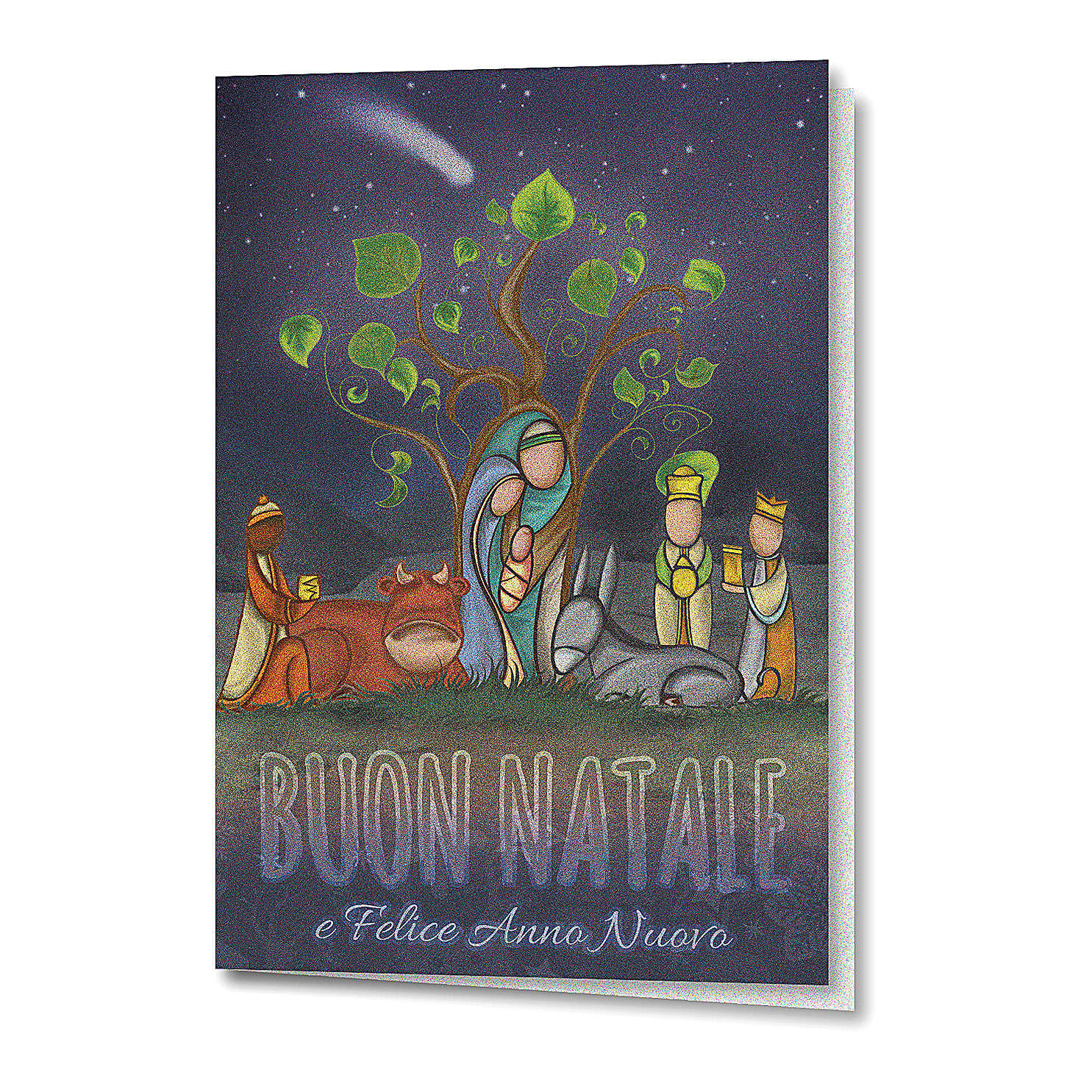 Greeting card in pearl paper Nativity Scene with Tree of Life 4