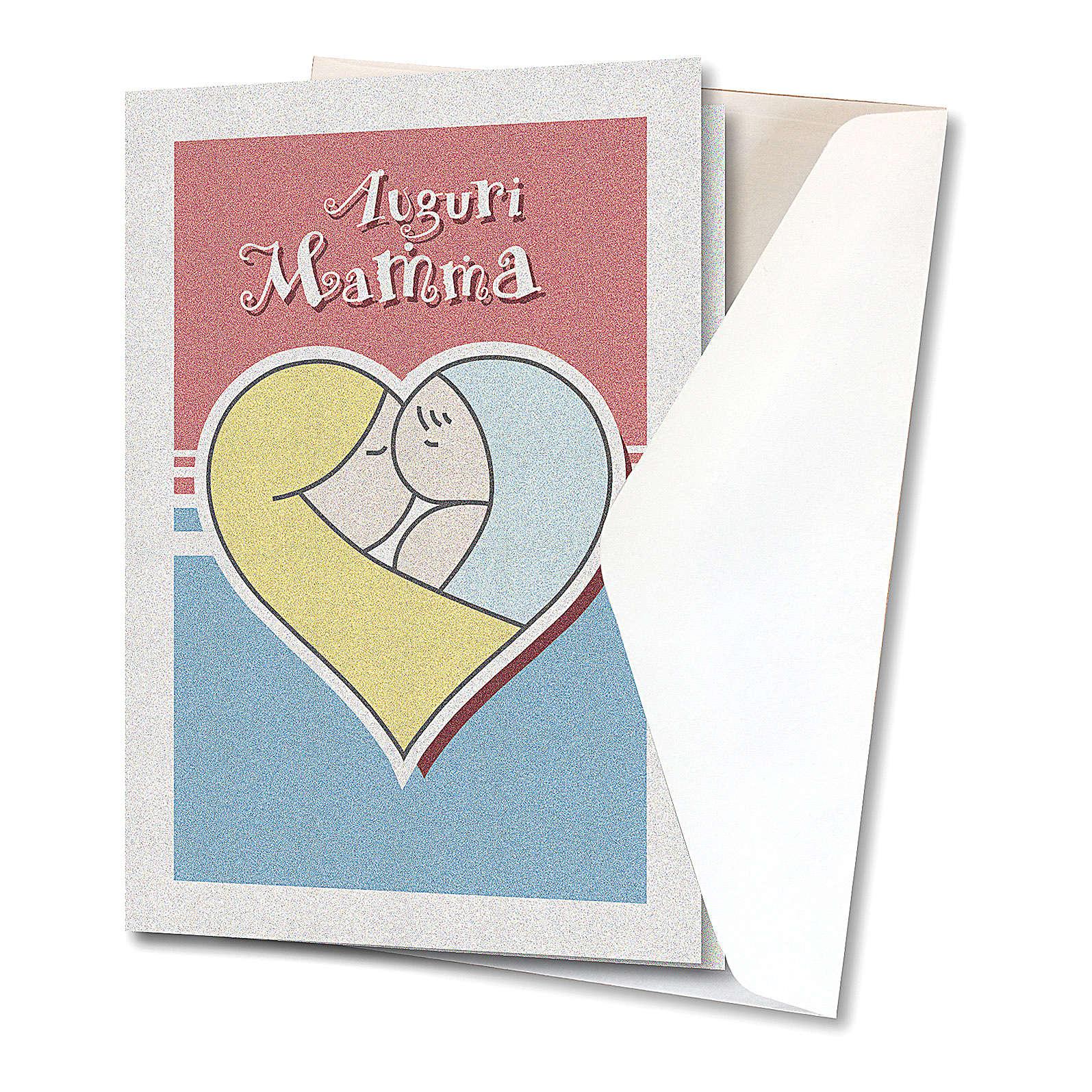 Biglietto Auguri carta perlata per Festa a Mamma Bimbo in un cuore 4
