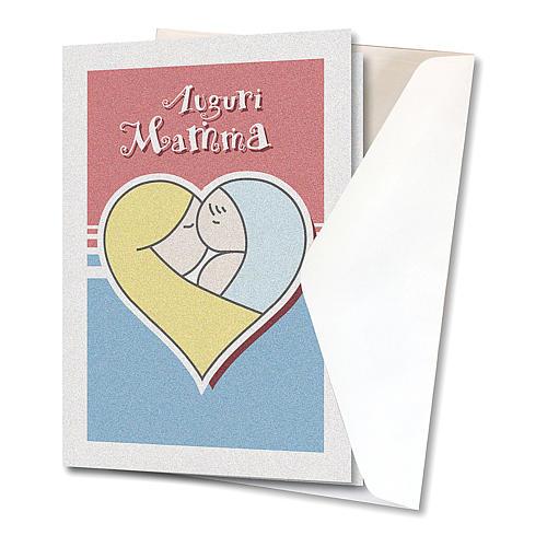 Biglietto Auguri carta perlata per Festa a Mamma Bimbo in un cuore 2