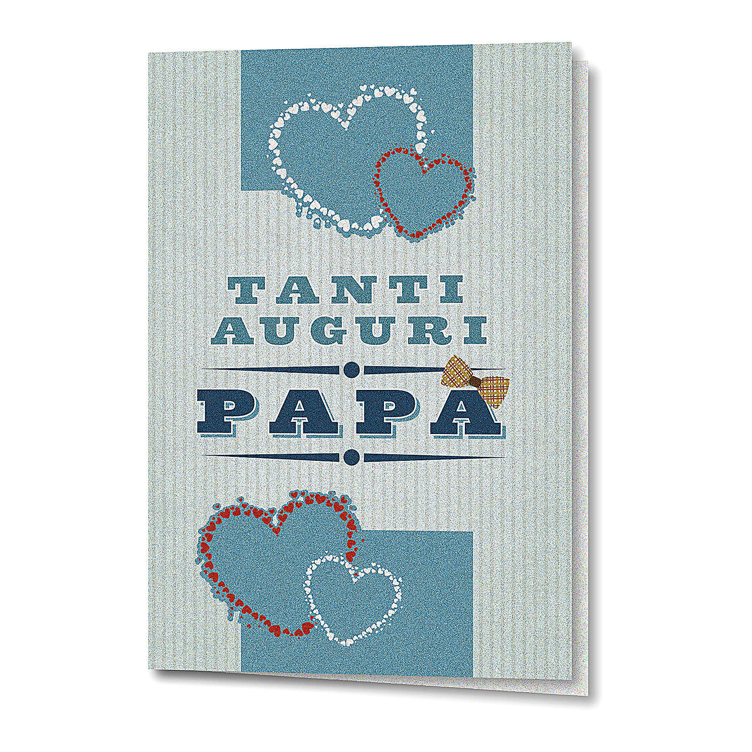 Greeting card in pearl paper Father's Day Colourful Hearts 4