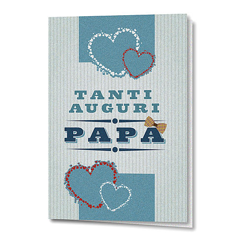 Greeting card in pearl paper Father's Day Colourful Hearts 1