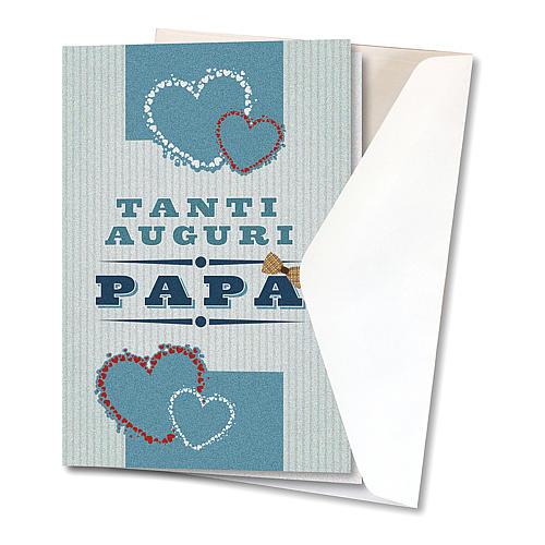Biglietto Augurale carta perlata per Festa del Papà Cuori Colorati 2