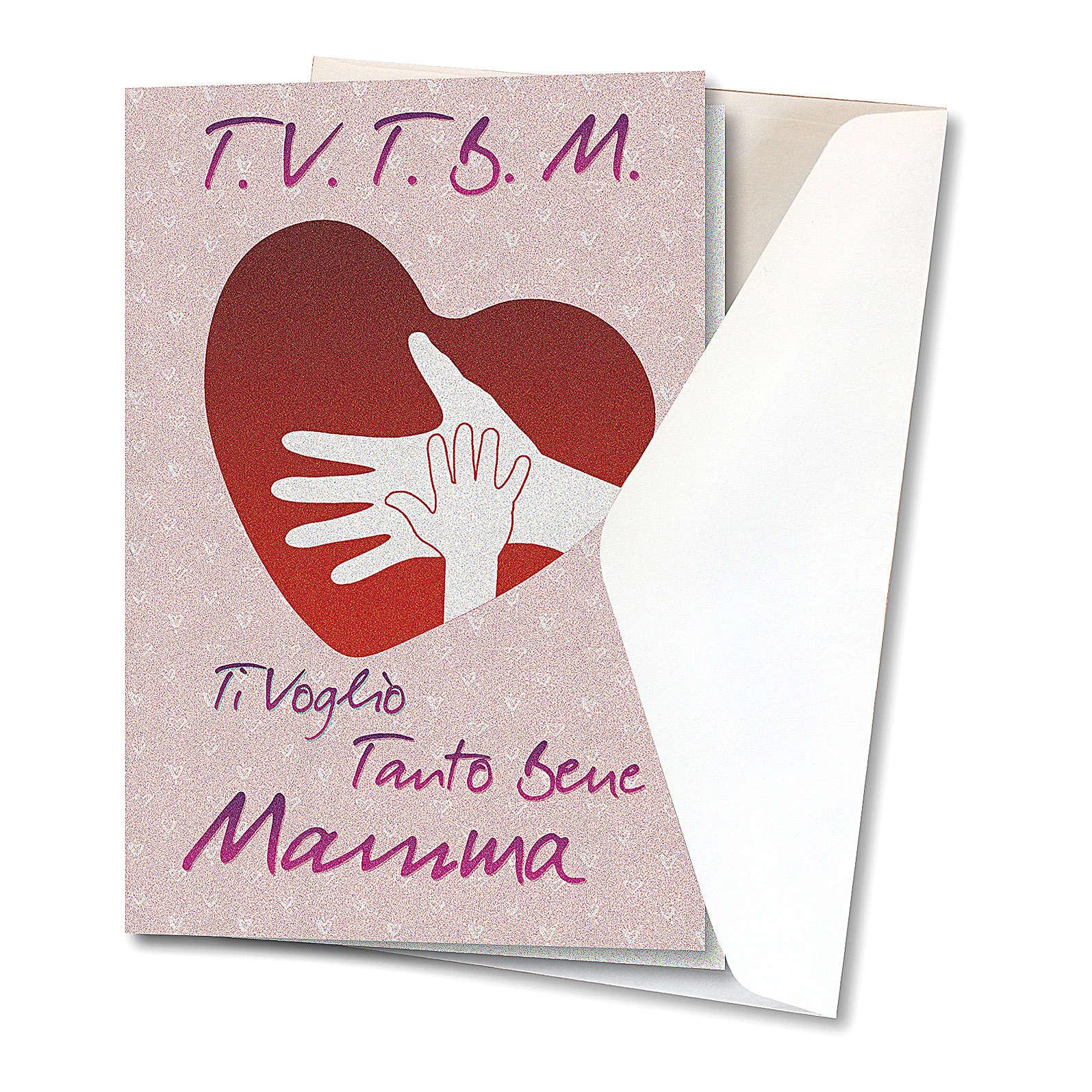 Biglietto Auguri carta perlata Ti Voglio Bene Mamma Cuore con Mani 4