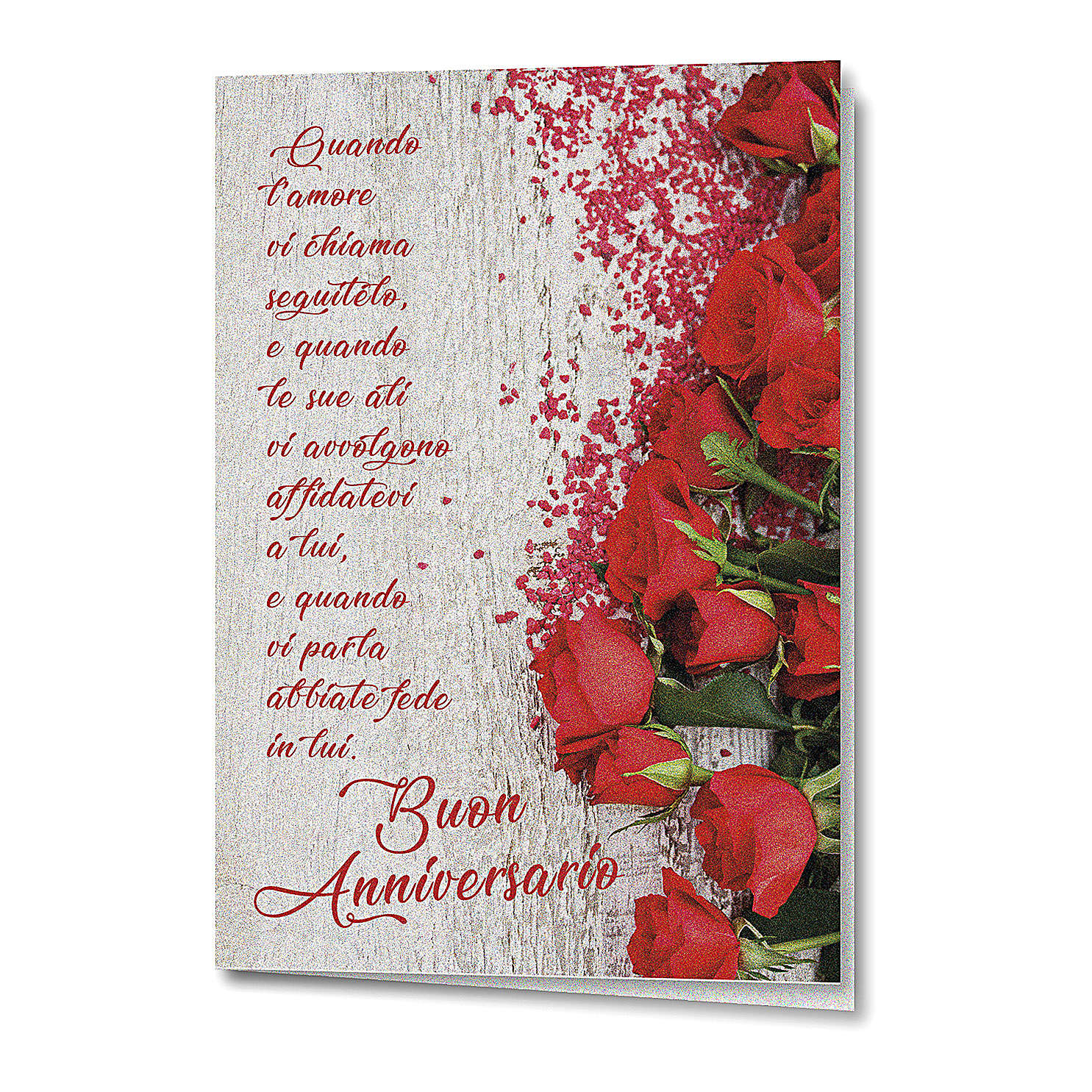 Biglietto Augurale carta perlata Anniversario di Nozze Rose Rosse 4