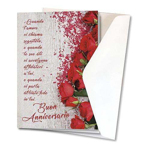 Biglietto Augurale carta perlata Anniversario di Nozze Rose Rosse 2