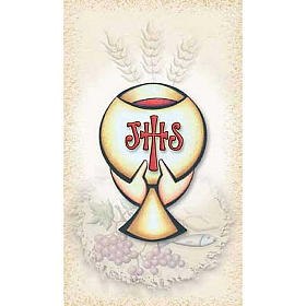 Holy cards: First Communiion holy card, Chalice IHS
