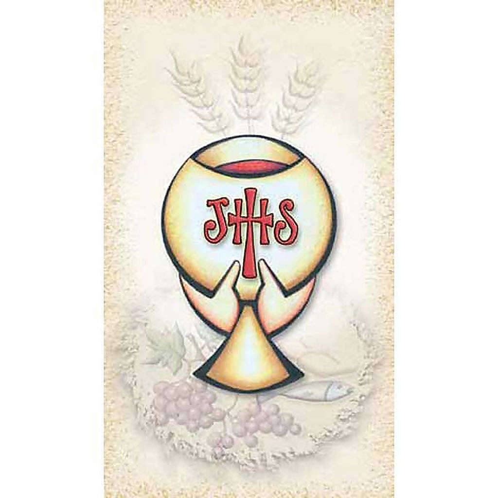 First Communiion holy card, Chalice IHS 4
