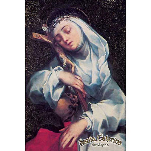 Holy card, St Catherine with cross 1
