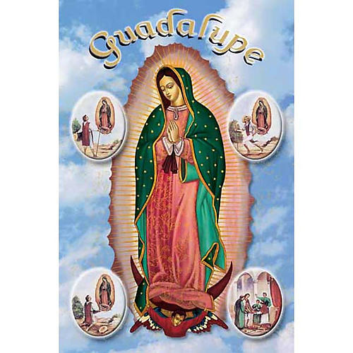 Our Lady of Guadalupe with scenes holy card 1