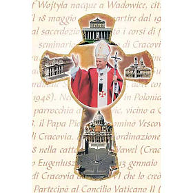Holy Card with cross and Pope John Paul II s1