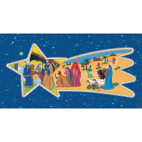 Holy Card, nativity with Wise Kings on comet 1