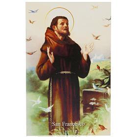 Image pieuse St François avec prière italien s1