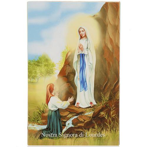 Estampa italiano Lourdes con oración 1