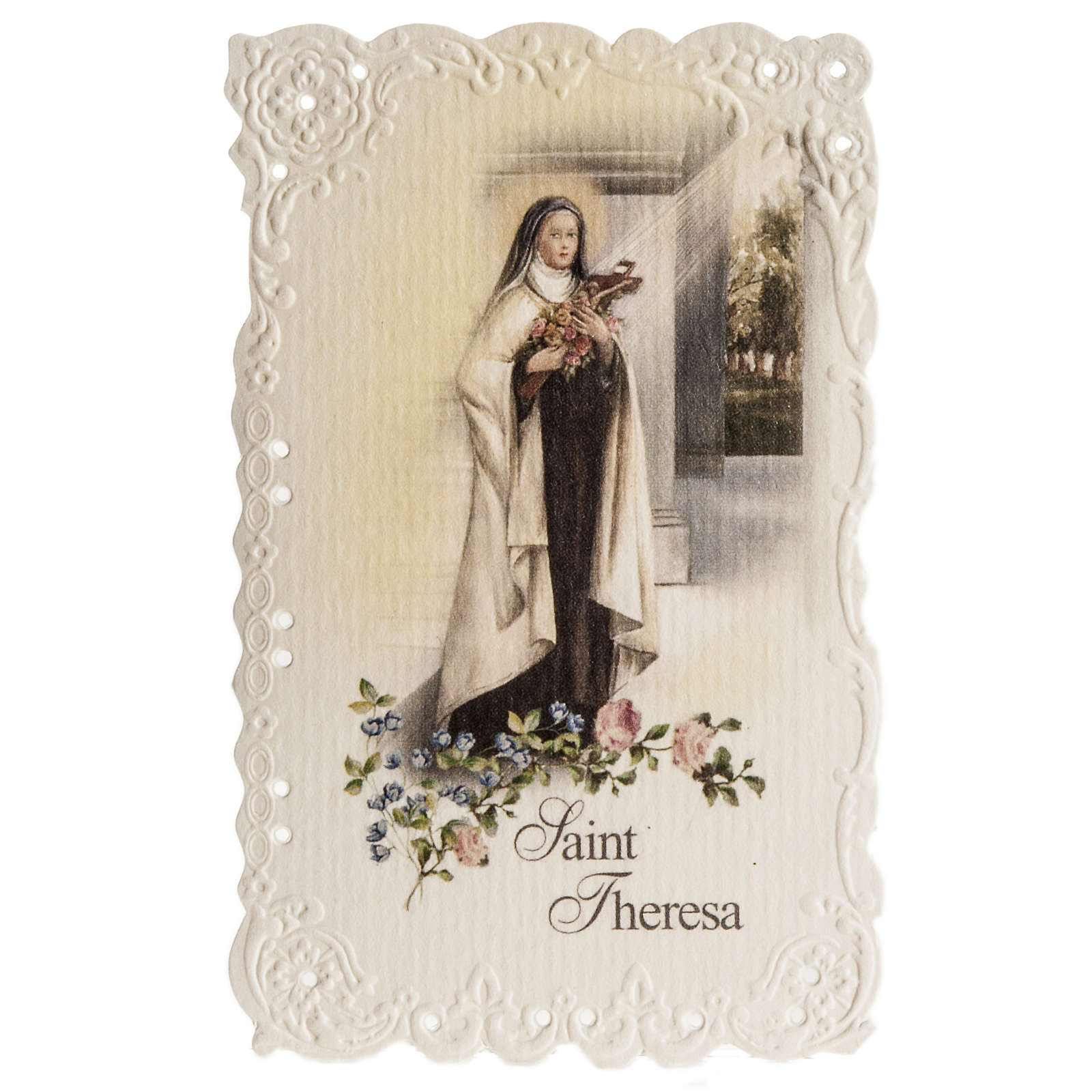 Santino Saint Theresa con preghiera (inglese) 4