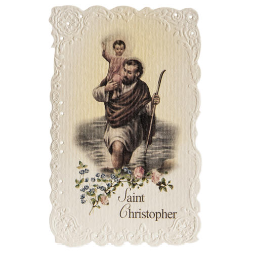 Santino Saint Christopher con preghiera (inglese) 1