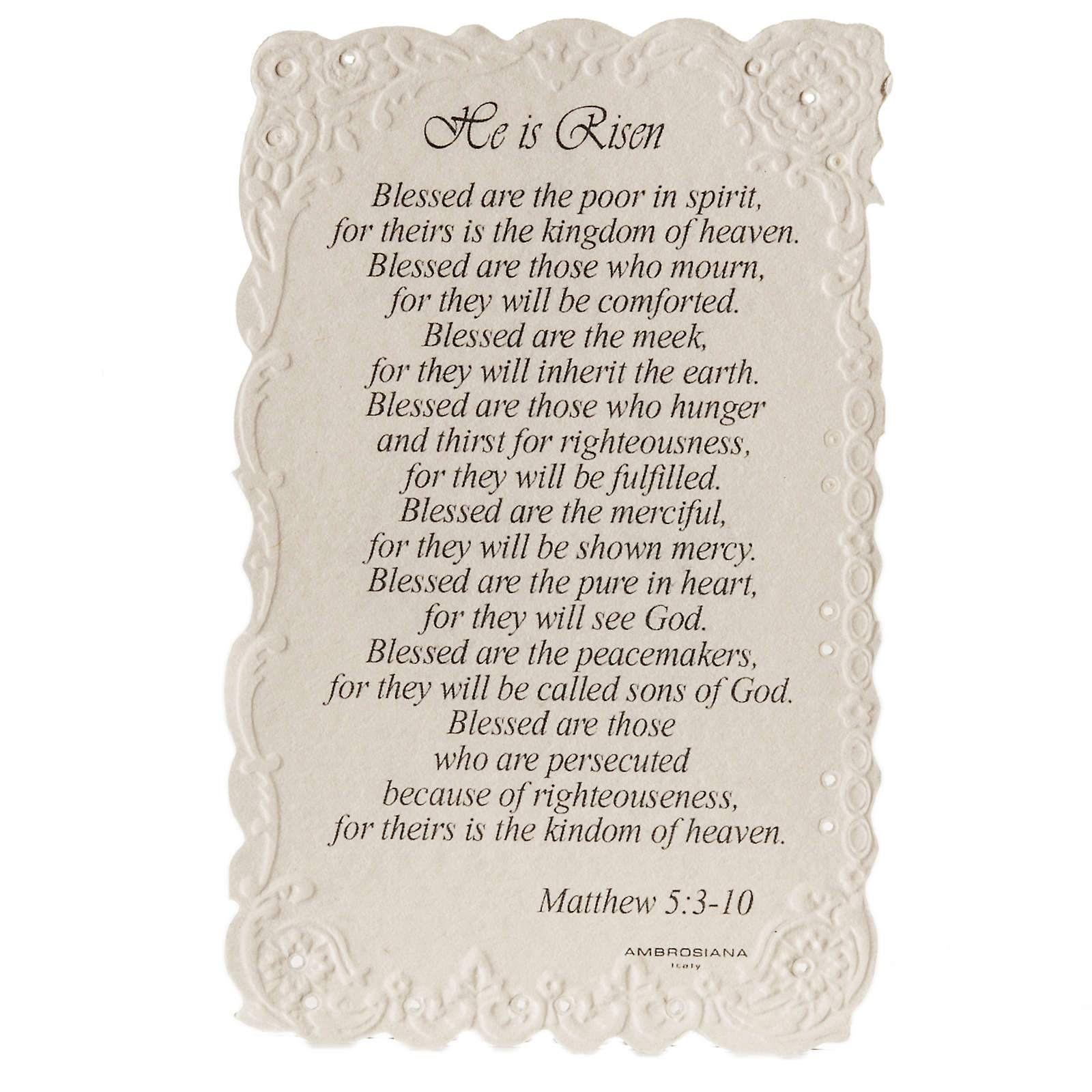 He is Risen holy card with prayer in ENGLISH 4