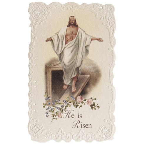 He is Risen holy card with prayer in ENGLISH 1
