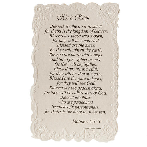 He is Risen holy card with prayer in ENGLISH 2
