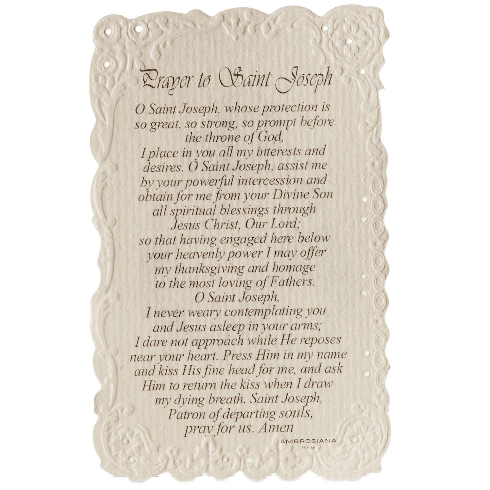 Santino Saint Joseph con preghiera (inglese) 4