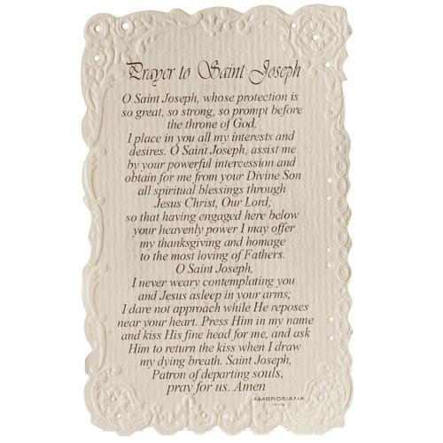Santino Saint Joseph con preghiera (inglese) 2