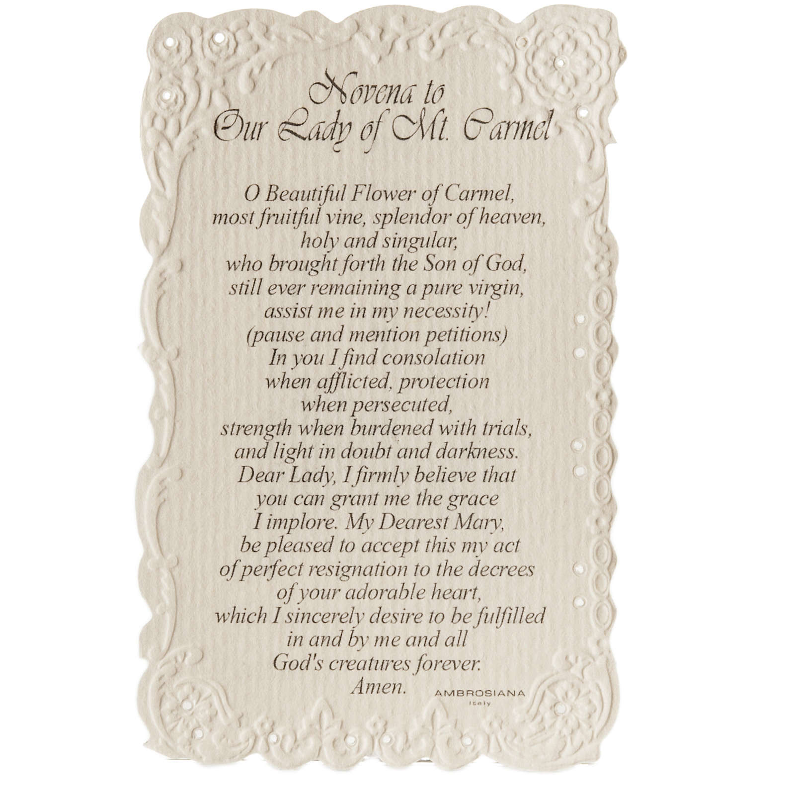 Our Lady of Mount Carmel holy card with prayer in ENGLISH 4