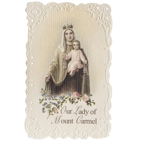 Our Lady of Mount Carmel holy card with prayer in ENGLISH 1