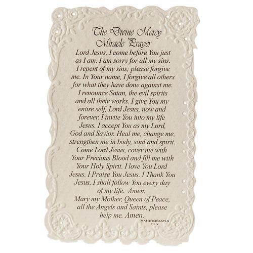 Santino Divine Mercy con preghiera (inglese) 2