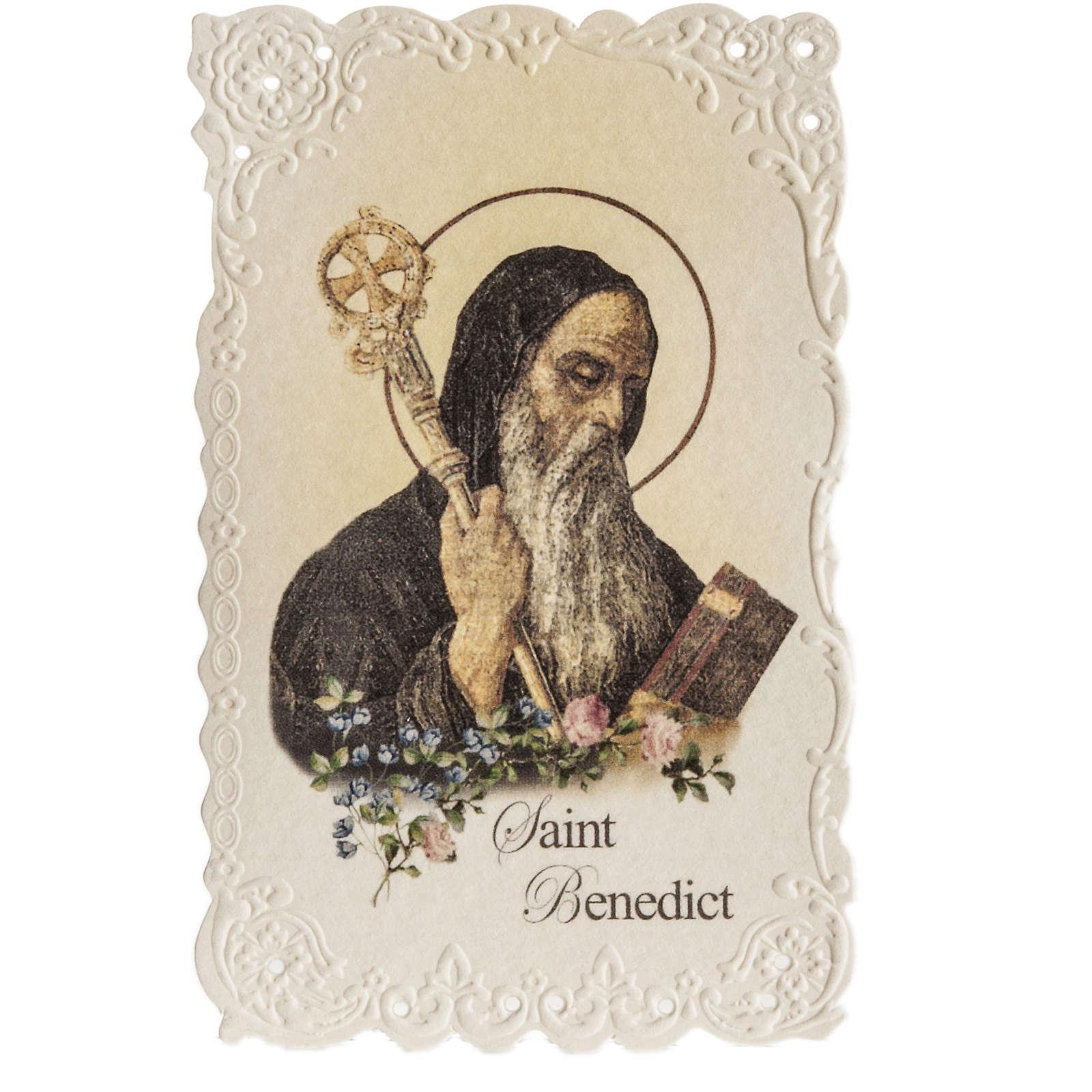 Santino Saint Benedict con preghiera (inglese) 4
