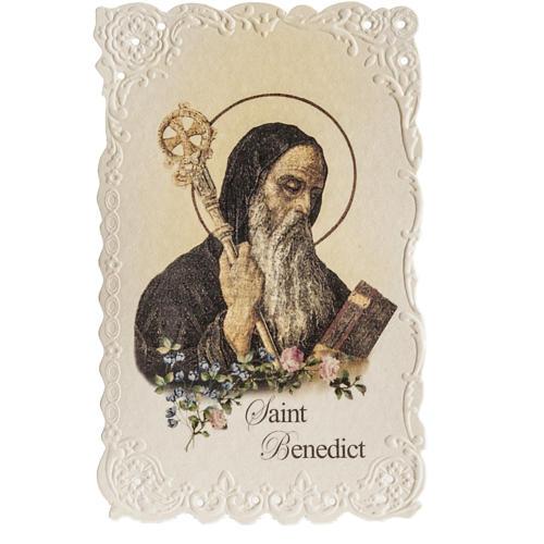 Santino Saint Benedict con preghiera (inglese) 1