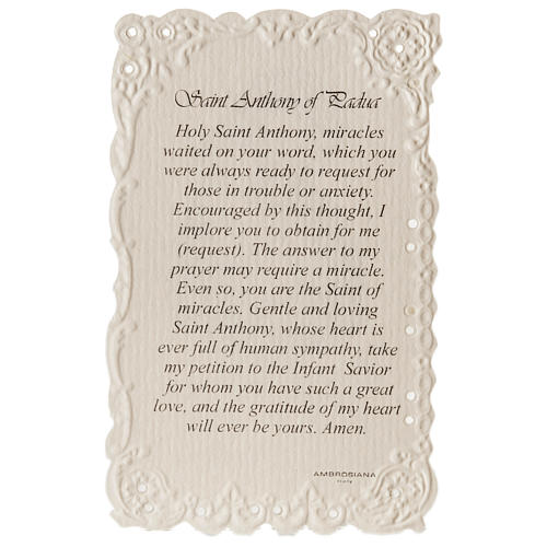 Santino Saint Anthony con preghiera (inglese) 2