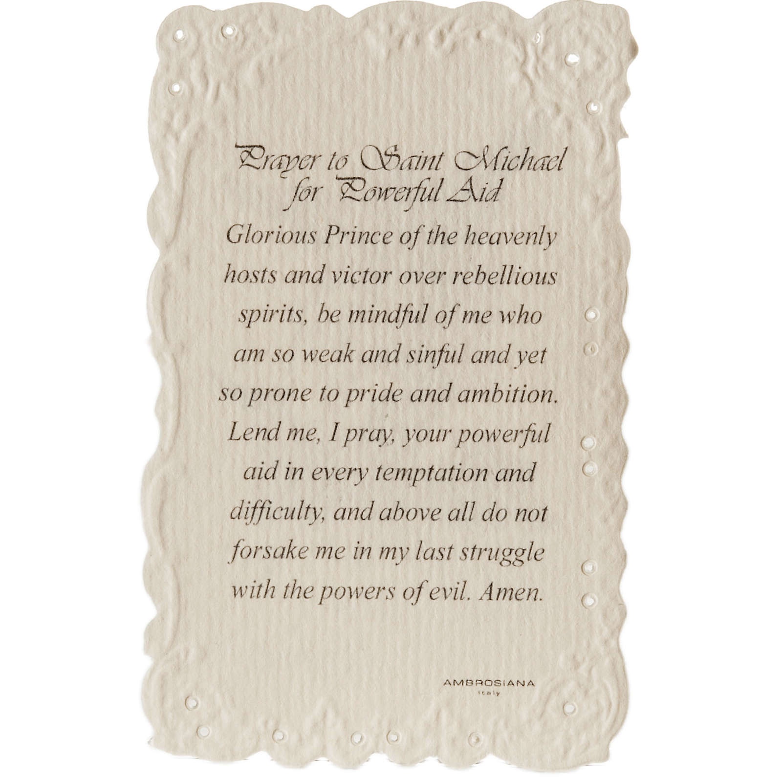 Saint Michael holy card with prayer in ENGLISH 4
