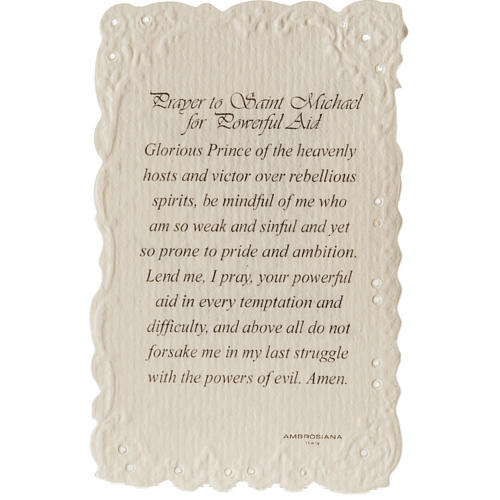Saint Michael holy card with prayer in ENGLISH 2