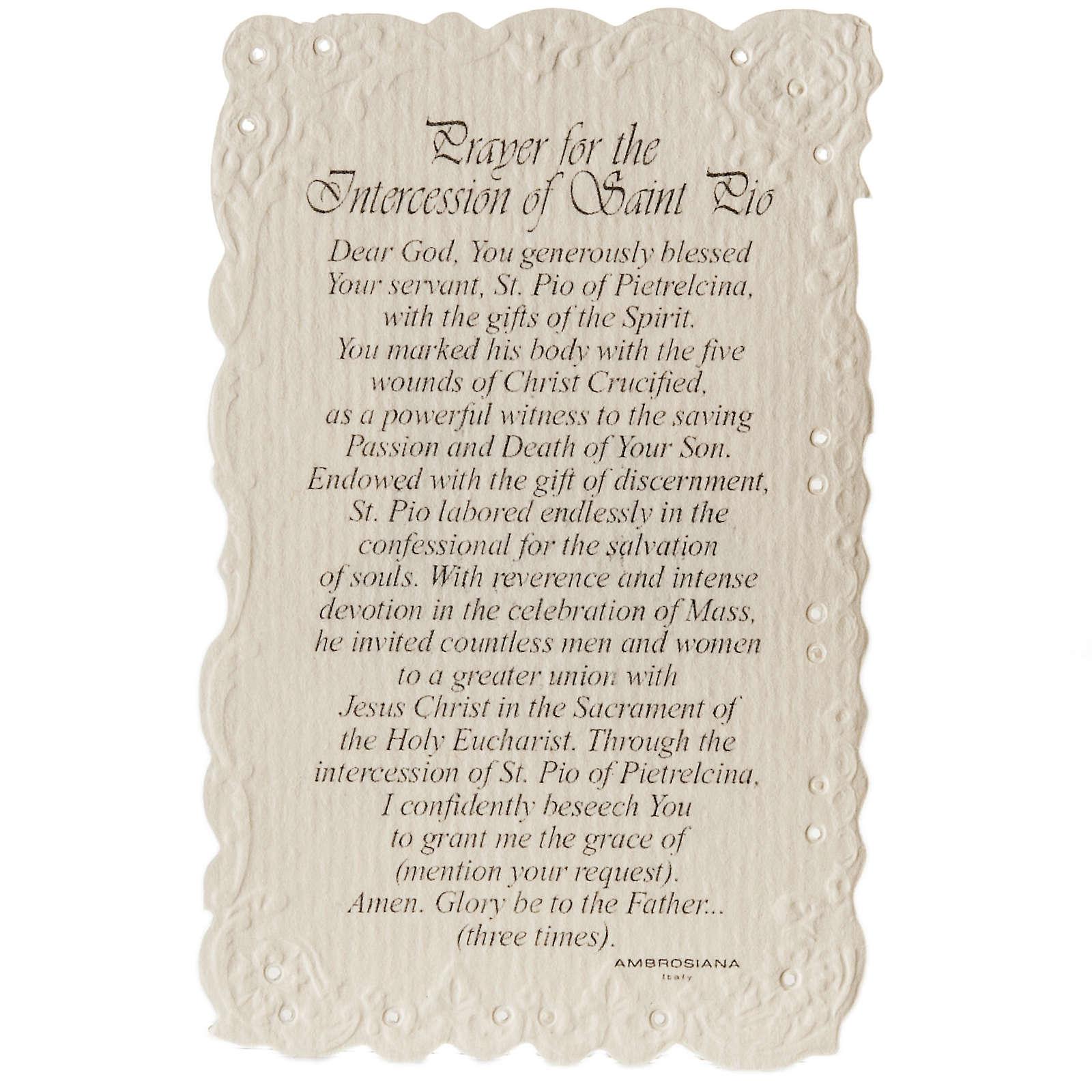 Santino Saint Pio con preghiera (inglese) 4