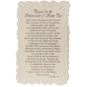 Santino Saint Pio con preghiera (inglese) s2