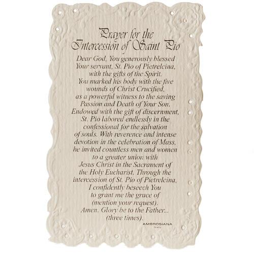 Santino Saint Pio con preghiera (inglese) 2