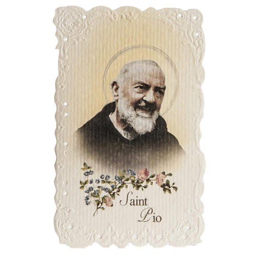Saint Pio holy card with prayer in ENGLISH 1