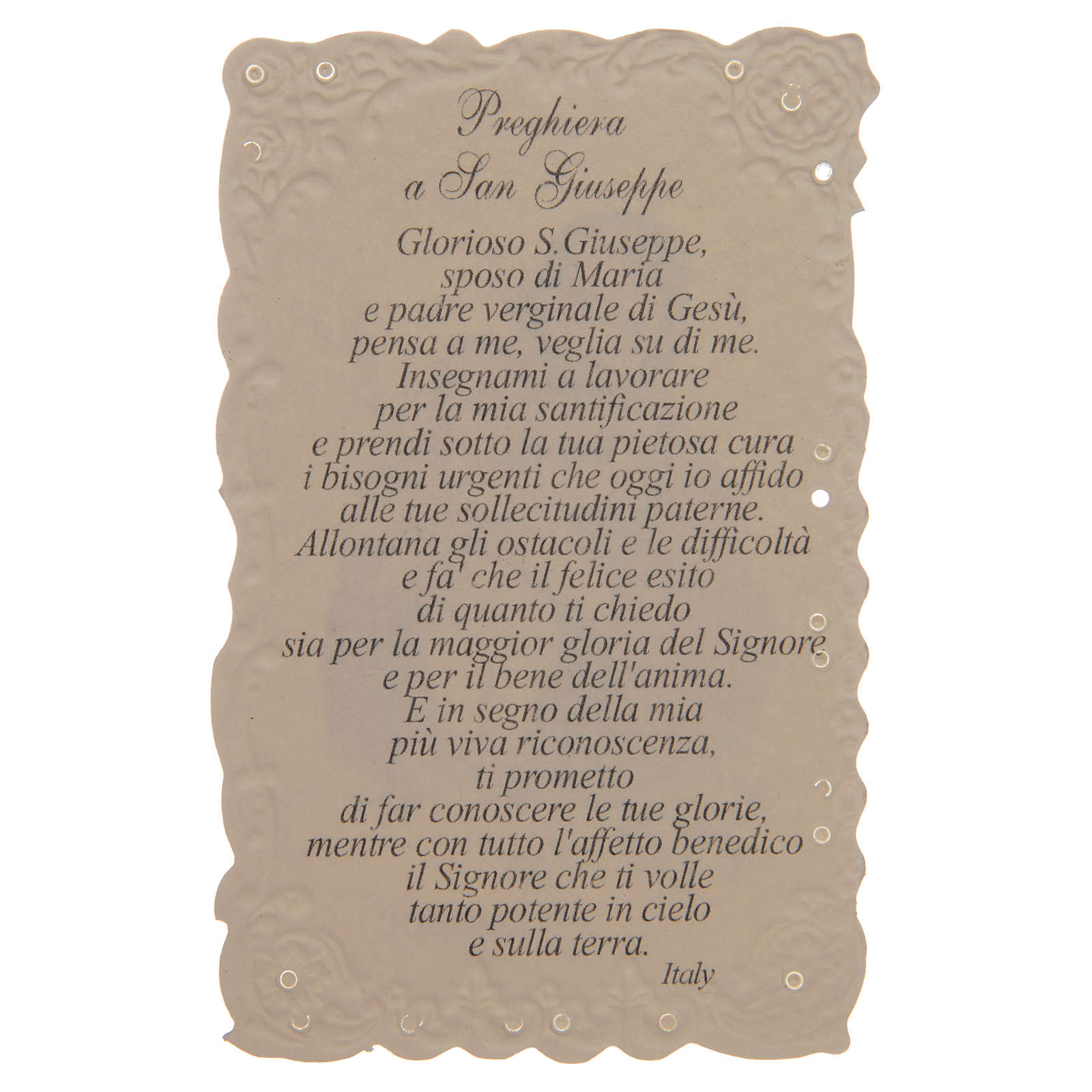 Santino San Giuseppe con preghiera 4