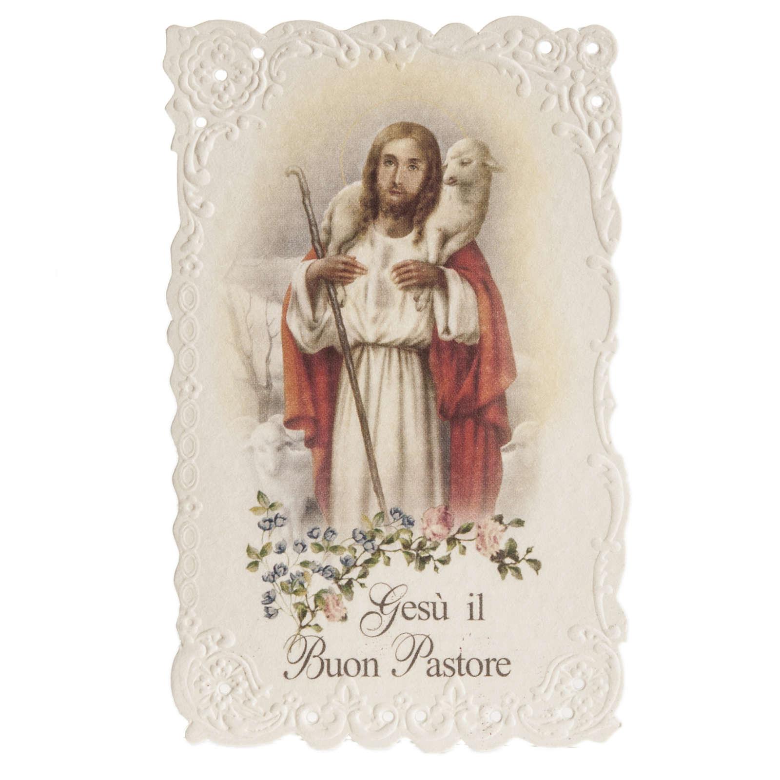 Santino Gesù il Buon Pastore con preghiera 4