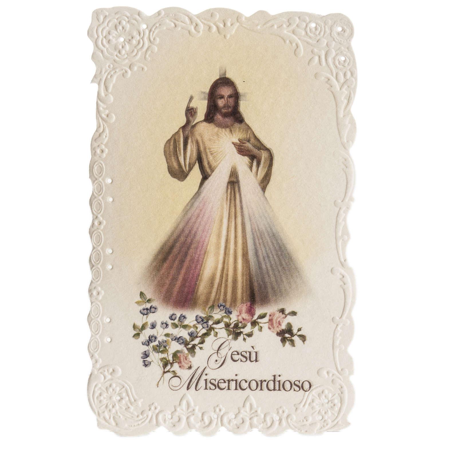Santino Gesù Misericordioso con preghiera 4