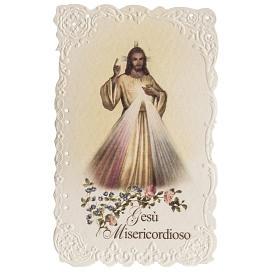 Santino Gesù Misericordioso con preghiera s1
