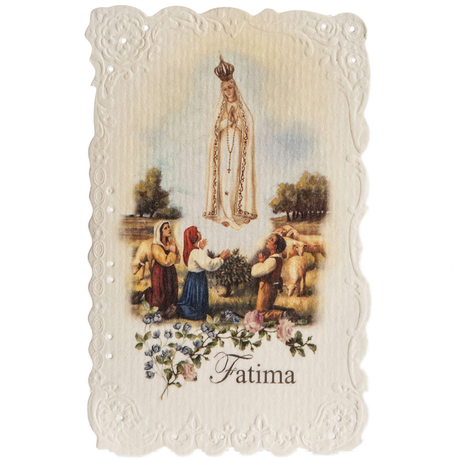 Estampa Our Lady of Fatima con oración (inglés) 4