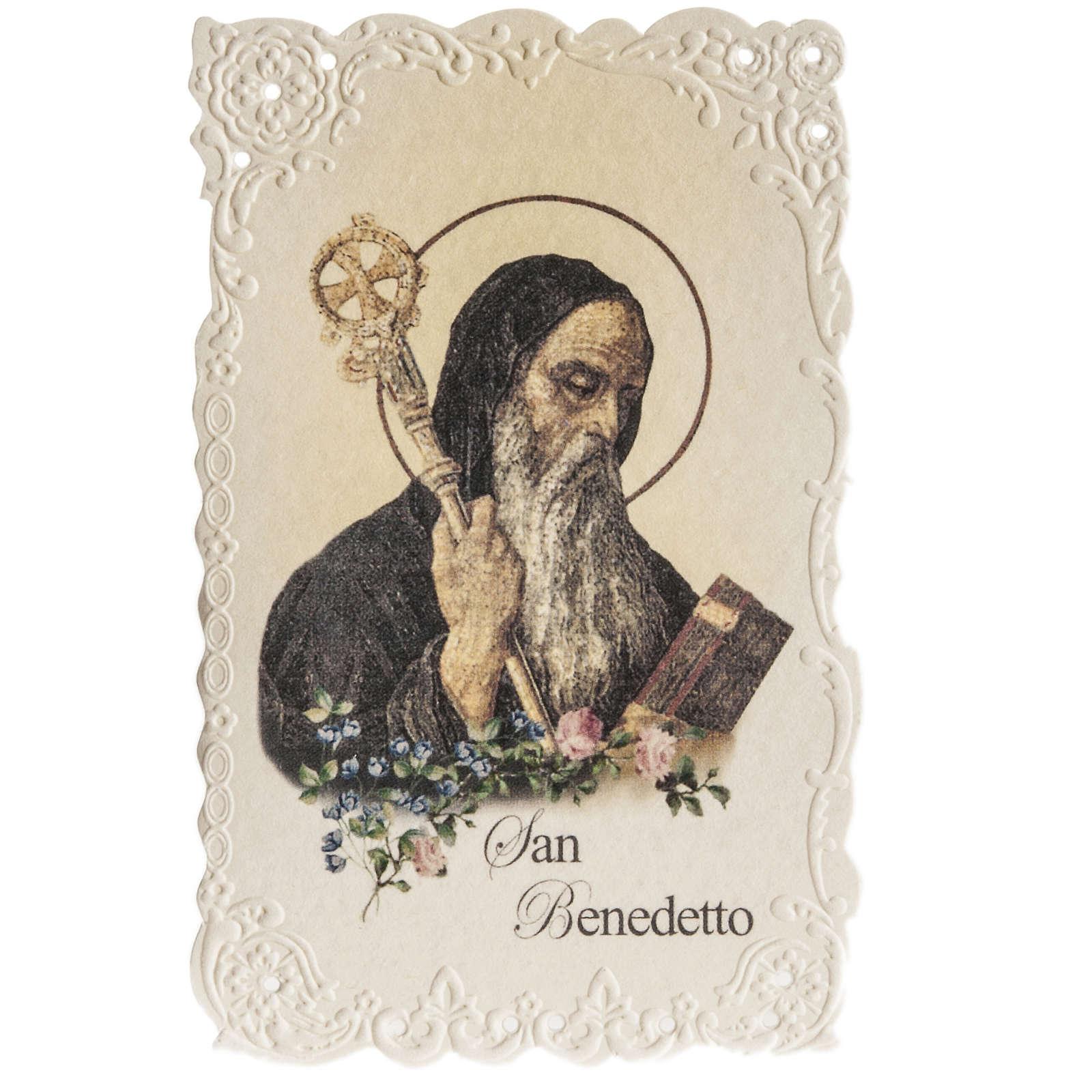 Holy card, Saint Benedict with prayer 4