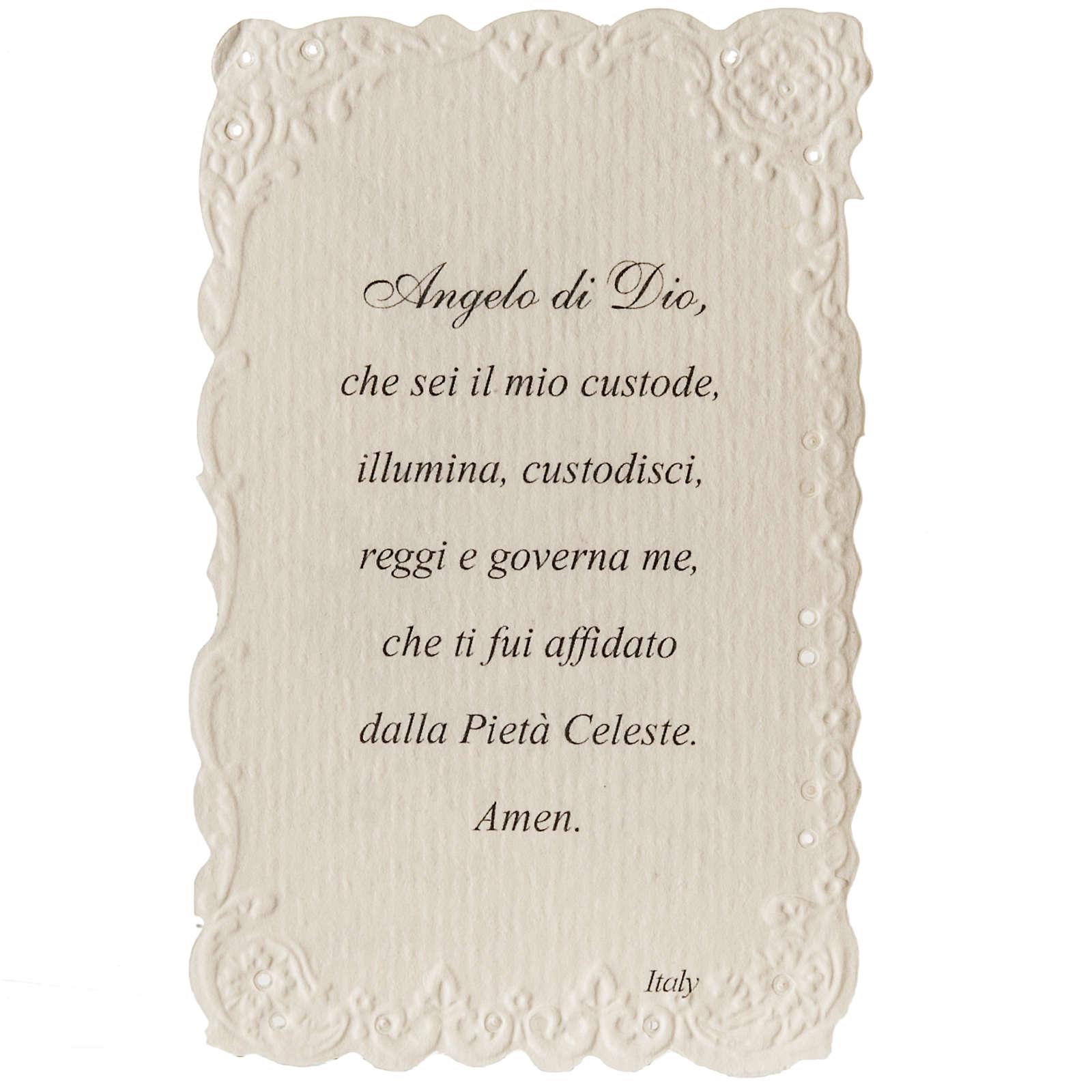 Estampa Ángel de la Guarda con oración italiano 4